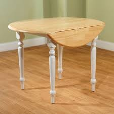 Round DropLeaf Dining Table WhiteNatural Walmartcom - Round drop leaf kitchen table