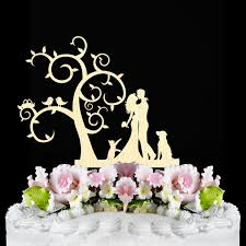 rustic wedding cake topper bride and groom silhouette with cat