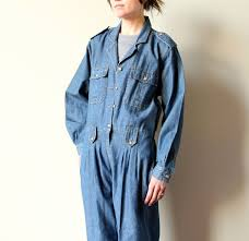 blue mechanic jumpsuit 80s denim jumpsuit bill blass chambray mechanic overalls designer