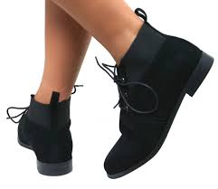 Black Suede Ankle Boots Low Heel Ladies Womens Vintage Lace Up Ankle Low Heel Pixie Flat Chelsea