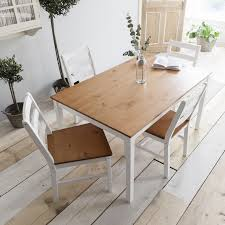 Dining Table And 4 Chairs White Wooden Dining Table And 4 Chairs Set Ebay