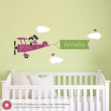Girl Nursery Wall Decals by Airplane Girl Name Banner Wall Decal Graphic Spaces