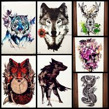 tattoo romantic wolf with rose flower temporary tattoo stickers
