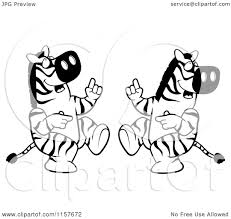 zebra color page cartoon clipart of a black and white dancing zebra couple vector