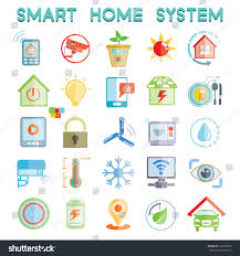 smart home system icons home automation stock vector 215959630
