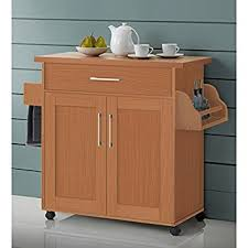 wood top kitchen island amazon com kitchen island cart on wheels with wood top rolling
