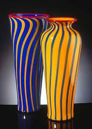 Yellow Glass Vase Ken And Ingrid Hanson Art Glass