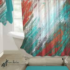 Coral And Gray Curtains Shop Aqua Coral Curtains On Wanelo
