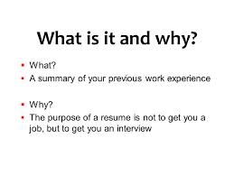 What Is The Purpose Of A Resume Job Search Strategies Ppt Video Online Download