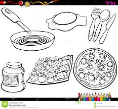 food objects set coloring page stock vector image 53152283