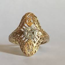 vintage diamond shield ring 10k white and yellow gold art