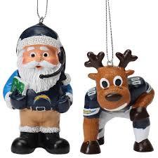los angeles chargers reindeer santa 2 pack ornament set