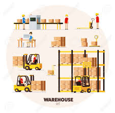 furniture clipart for floor plans warehouse logistic pattern isometric objects car human forklift