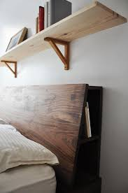 bedroom wallnut headboard shelves design for rustic accent