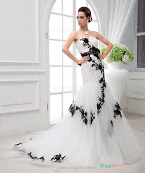 white black lace wedding dress classical strapless asymmetrical pleated black lace white tulle