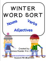 free winter word sort nouns verbs u0026 adjectives by melissa roeder