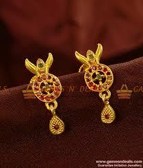 kerala earrings fancy college wear guarantee chidambaram gold plated earrings