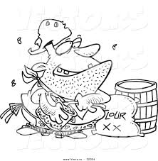 vector of a cartoon stinky camp cook coloring page outline by