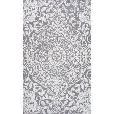 Nuloom Outdoor Rugs by Nuloom Modern Vintage Fancy Floral Grey Rug 7 U00276 X 9 U00276