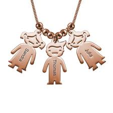 mothers necklace s necklace with engraved children charms gold plated