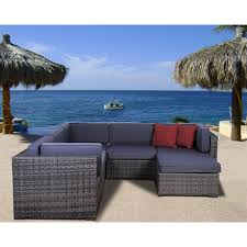 Wicker Sectional Patio Furniture by Atlantic Bellagio All Weather Wicker Sectional Set Seats 6