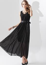 black maxi dress black plain belt sleeveless chiffon maxi dress dresses
