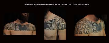 tattoo chest and arm mixed polynesian arm and chest tattoo by dave rodriguez tattoos