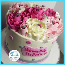 Pink U0026 Grey Buttercream Baby Shower Cake With Flowers U0026 Polka Dots