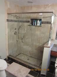 inspired frameless shower door in bathroom traditional with tile