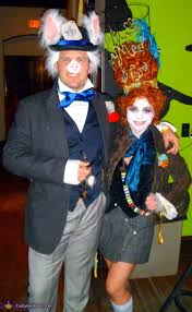 mad hatter and white rabbit couples homemade halloween costume