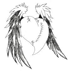 broken emo hearts with wings bing images tattoo ideas