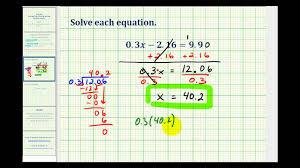 solving two step equations involving decimals