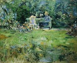 the monet family in their garden at argenteuil the lesson in the garden 1886 berthe morisot wikiart org