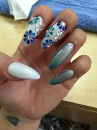 different shades of blue stoned flowers two different gel polish
