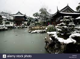 yuyuan garden in winter shanghai china stock photo royalty free