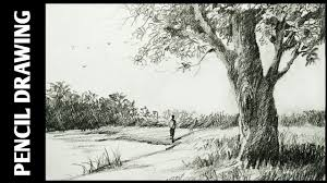 landscape drawing for beginners with pencil sketching and shading