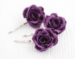 flower hair pins hair accessories purple wedding hair flower hair bridal