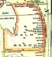 Boynton Beach Florida Map by Palm Beach County 1916