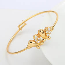 childrens gold bracelets butterfly 18k yellow gold gf crystals baby kids bangle