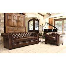abbyson tuscan leather chesterfield sofa free shipping today