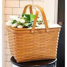 longberger the longaberger company large picnic basket with lid u0026 riser