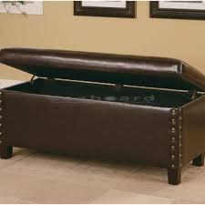 coaster lewis brown nailhead storage bench 300378