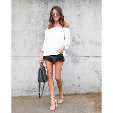 stylish summer women clothes off shoulder pullover casual solid