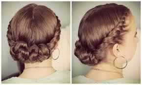 double twist bun updo homecoming hairstyles medium hair styles