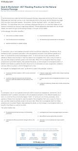 quiz u0026 worksheet act reading practice for the natural science