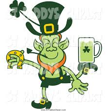 vector clip art of a st patricks day leprechaun dancing with a