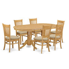 amazon com east west furniture vanc7 oak c 7 piece dining table