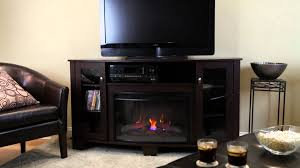 hampton bay media electric fireplace midnight cherry youtube