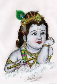 drawing of little krishna with colour drawing of sketch