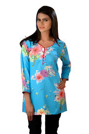 light blue top women s light blue women s top floral print tunic kurti easternthings com